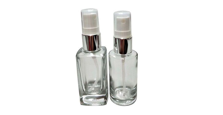 GH730P: 30ml quadratische oder runde Sprühflasche aus klarem Glas mit silbernem Kragen