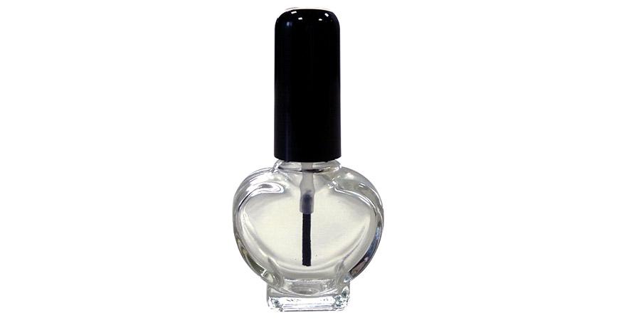GH26 677: Botella de esmalte de uñas de vidrio transparente en forma de corazón de 10 ml con tapa y cepillo