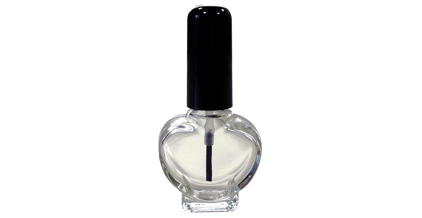 GH26 677: 10ml Heart Shaped Clear Glass Nail Polish Bottle with Cap and Brush