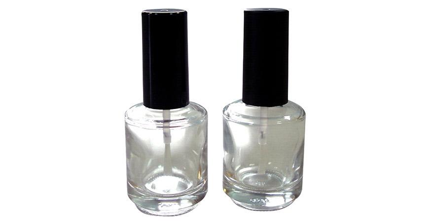 GH12 696: 15 ml runde Nagellackflasche aus klarem Glas mit Kappe und Pinsel