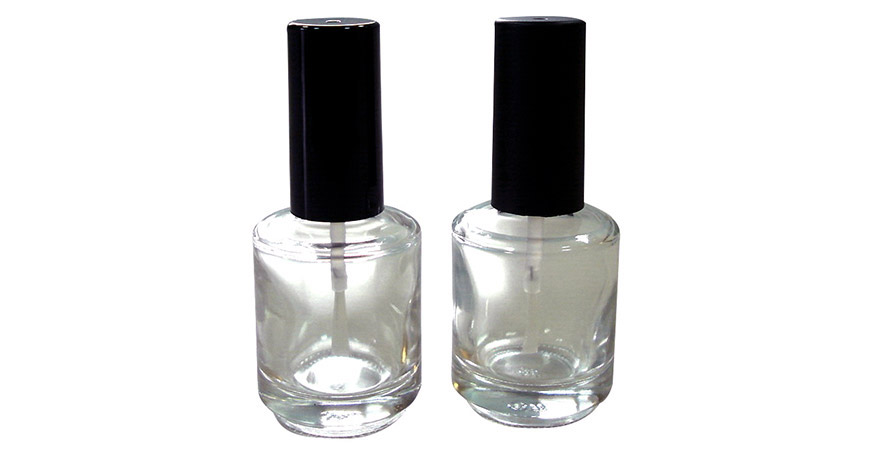 GH12 696: Flacon de vernis à ongles rond en verre transparent de 15 ml avec capuchon et brosse