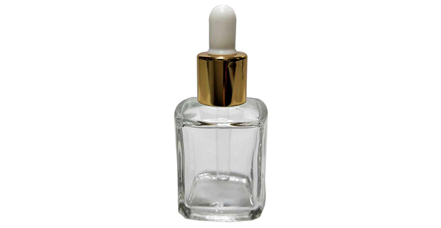 GH650D: 15ml Square Clear Glass Dropper Bottle for Cosmetic Oil