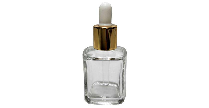 GH650D: Flacon compte-gouttes carré en verre transparent de 15 ml pour huile cosmétique