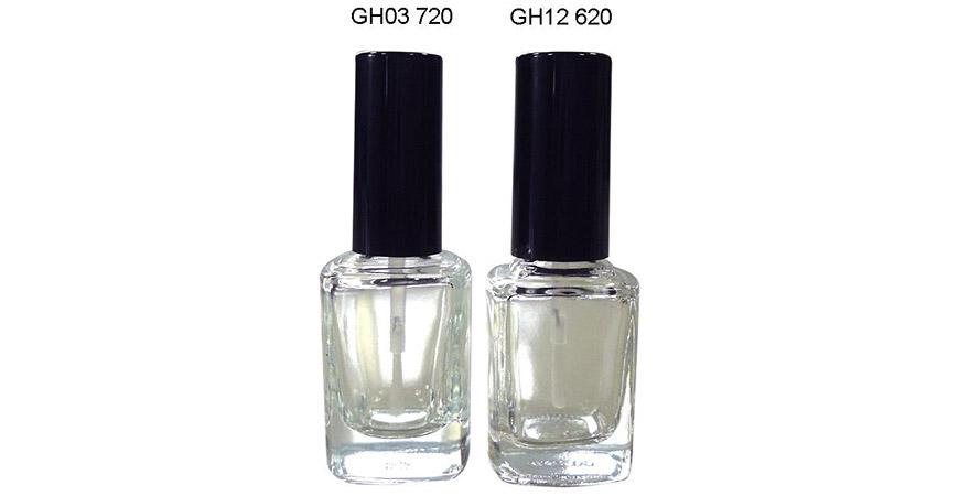 Bouteille de vernis à ongles carrée en verre transparent de 12 ml avec capuchon et brosse
