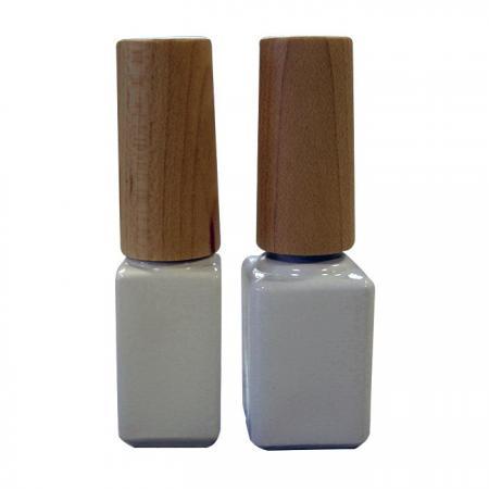 GH03W 604WW: Bouteille blanche de 4ml avec capuchon en bois et brosse