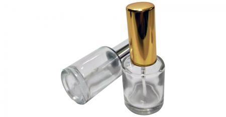 Bouteille de vernis à ongles en verre transparent de forme ronde de 10 ml - GH03A 612: Bouteille de vernis à ongles en verre transparent de forme ronde de 10 ml avec capuchon en aluminium