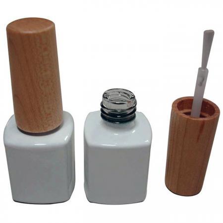 GH03W 631BW: Bouteille carrée blanche de 7ml avec capuchon en bois et brosse
