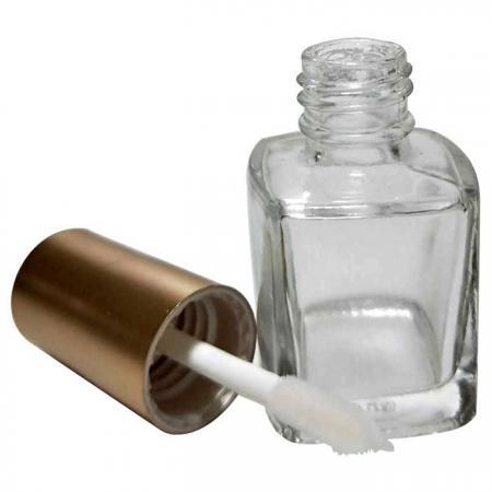 GH08PL: Bouteille en verre carrée de 7ml avec capuchon électrolytique et pinceau à brillant à lèvres