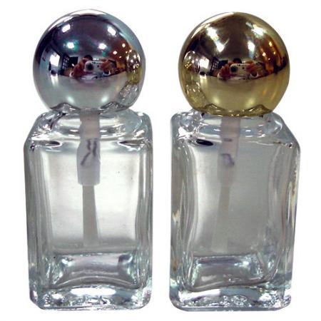 GH18P 632: Bouteille en verre transparent de 7ml avec bouchon plaqué argent/or