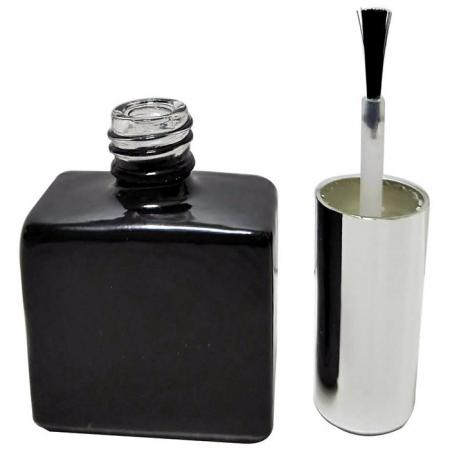 GH03P 651BB: Botella negra brillante de 15 ml + tapón plateado