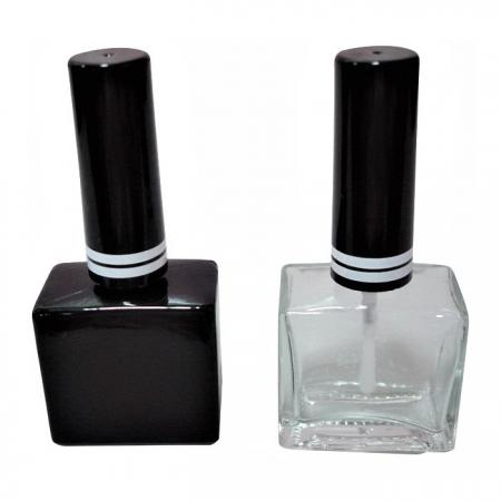 GH19H 651BB - GH19H 651: Botella de vidrio transparente y negro brillante de 15 ml con tapa de plástico alta con anillos