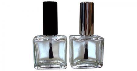 Bouteille en verre transparent de forme carrée plate de 15 ml avec capuchon et brosse - GH03 651 - GH03P 651: Bouteille plate carrée en verre transparent de 15 ml