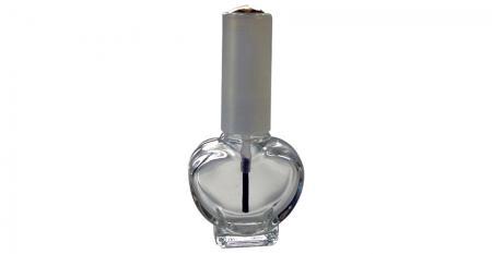 Bouteille de vernis à ongles en verre transparent en forme de coeur de 10 ml