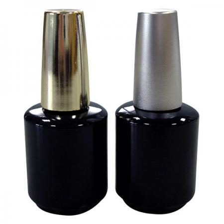GH15P 696BB : Flacon noir de 15 ml avec bouchon plaqué argent ou plaqué or
