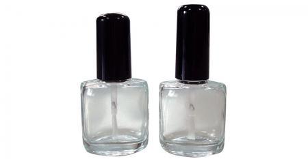 Bouteille de vernis à ongles en verre transparent de forme ovale plate de 12 ml
