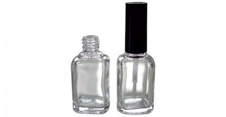 Bouteille d'huile à ongles en verre de forme rectangulaire de 13 ml avec brosse - GH03 713: Bouteille d'huile à ongles en verre de forme rectangulaire de 13 ml avec brosse à capuchon