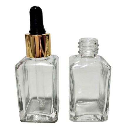 GH730D: 30ml Square Clear Glass Bottle with Dropper (Silver or Gold)