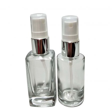 GH703P – GH730RP: 30ml Square and Round Glass Bottle with Sprayer (Silver)