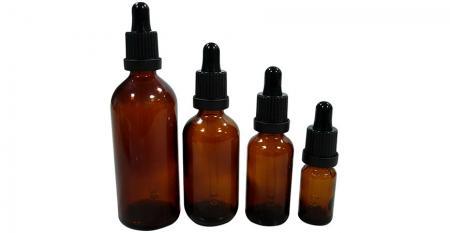 Pharmazeutische ätherische Ölglasflasche mit Tropfer - 5 ml bis 100 ml Glasflaschen aus pharmazeutischem ätherischem Öl mit manipulationssicherer Plastikkappe
