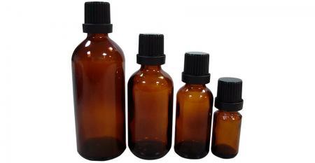 Pharmazeutisches ätherisches Öl Glasflasche mit Kappe - 5 ml bis 100 ml pharmazeutische Glasflaschen für ätherisches Öl mit manipulationssicherer Kunststoffkappe