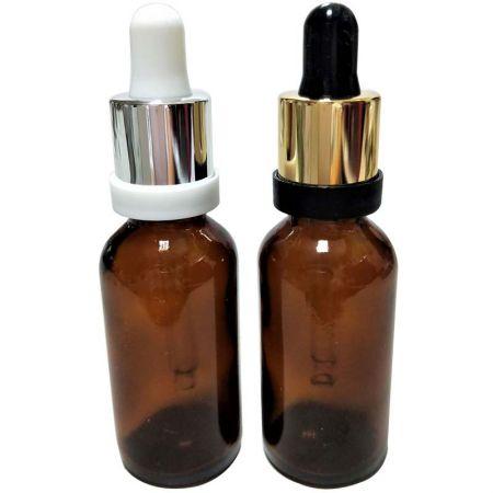 GHAD30S: Botellas de vidrio ámbar de 30 ml con gotero plateado / dorado a prueba de manipulaciones