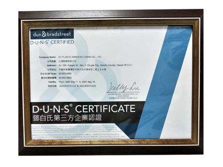 Certificat DUNS plastique GH