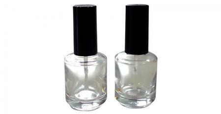 Bouteilles rondes de vernis à ongles en verre - GH12 696: Flacon de vernis à ongles rond en verre transparent de 15 ml avec capuchon et brosse