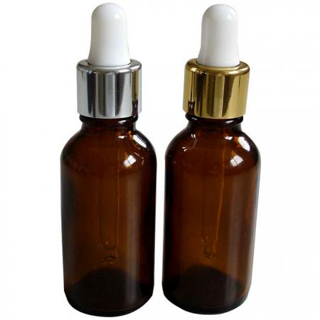 GHAD30: 30ml Amber Glass Bottles with Silver/Gold Dropper