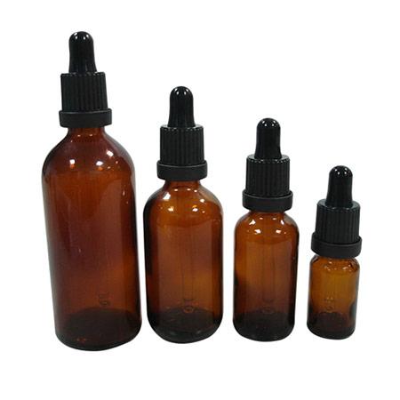Flacons compte-gouttes en verre ambré pharmaceutique