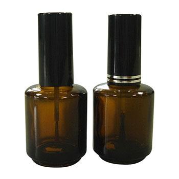 Bouteille de vernis à ongles en verre ambré vide de 15 ml avec capuchon et brosse