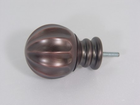 Fluted Sphere Iron Curtain Finial - fluted_sphere_iron_curtain_finial