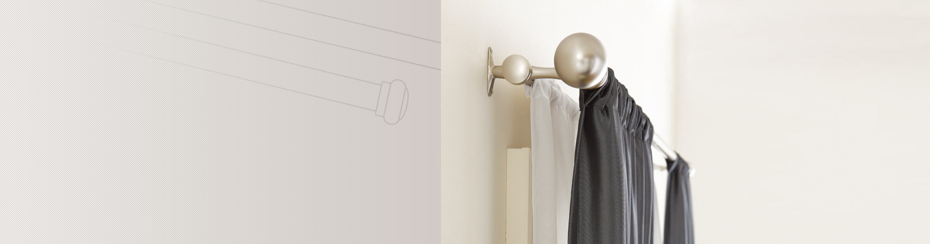 Batang Tirai selalu ditempel di dinding dengan finial dan braket dekoratif. Ini dapat beroperasi sebagai batang teleskopik, batang tunggal, batang ganda dan batang lengan ayun.