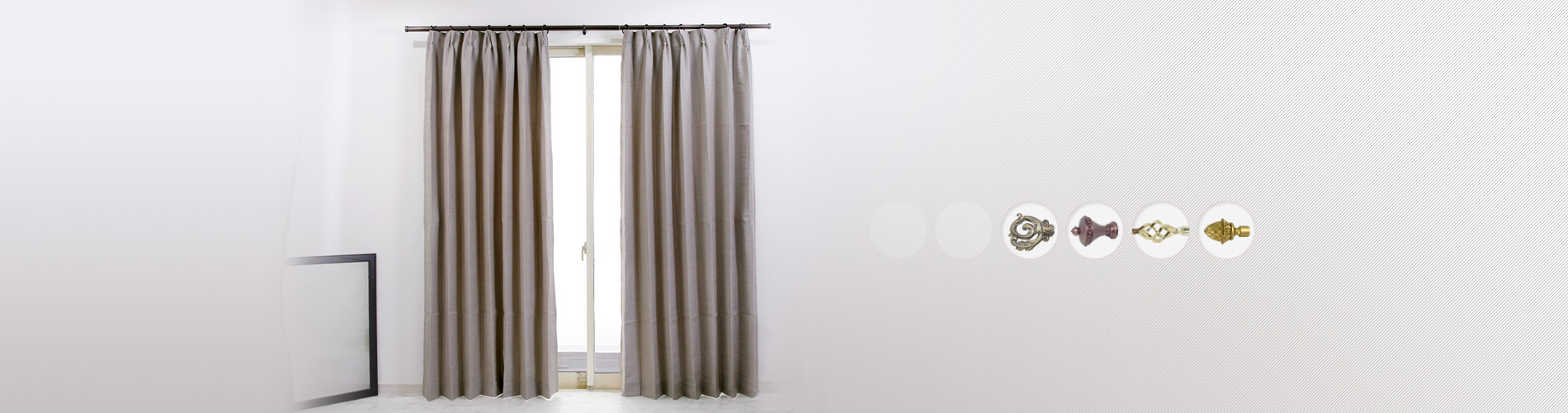 Classic Window Each of our curtain finials can be surface-treated  for electro-plated or power-coated.