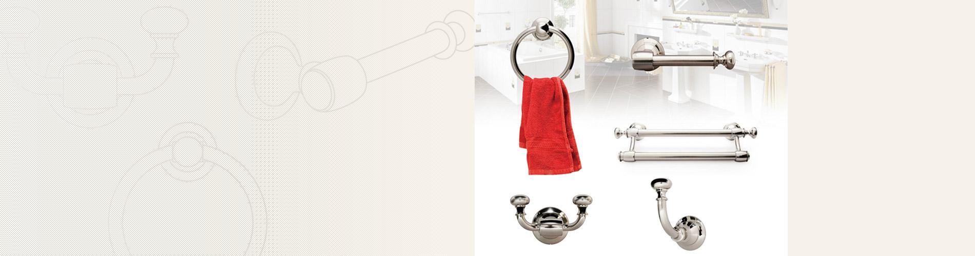 Perangkat Kamar Mandi Perangkat keras kamar mandi kami berisi rak handuk tunggal/ganda, cincin handuk, tempat tisu dan kait pakaian.