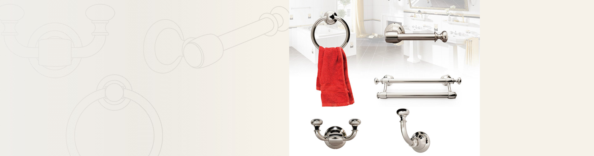 Bathroom Hardware Our bathroom hardware contains single/double towel rack,  towel ring, tissue holder and garment hooks.