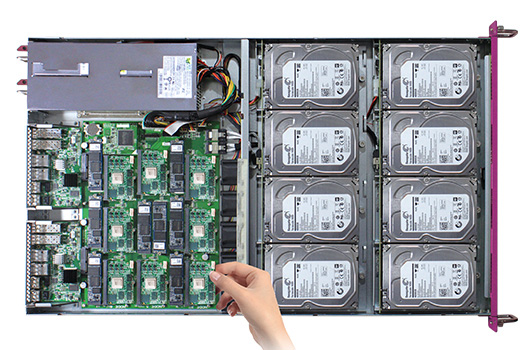 Hot-swappable on ARM microserver, disk bay, in-chassis switches, and PSU