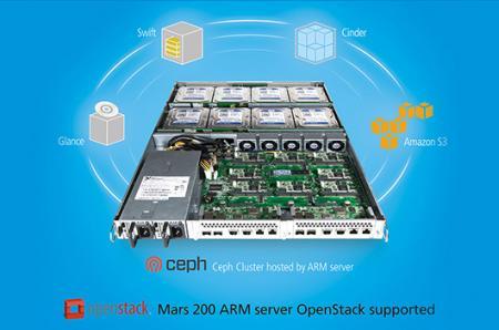 Dukungan penyimpanan Mars 200 ceph, Openstack, Cinder, dan Swift API juga kompatibel dengan penyimpanan Amazon S3.