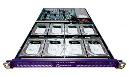 Microserver berbasis Mars 400 ARM, server ramping 1U dengan catu daya redundan.