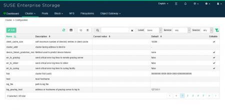 Bearbeiten ceph Konfiguration an SUSE enterprise storage