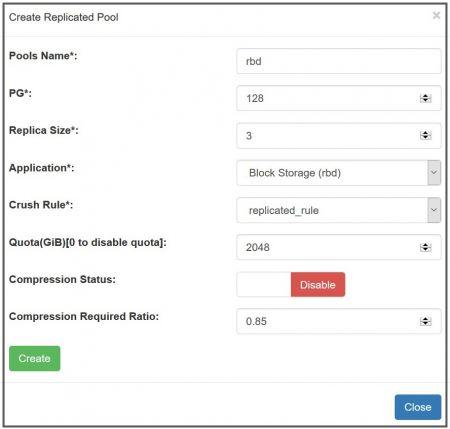Crear ceph replicado pool con UVS manager, para definir el tamaño de la réplica, número de PG, solicitud de block, crush rule aplicado, habilitación de cotización y compresión o no.