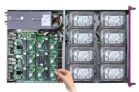 Mars 400 microserver, hard disk bay and switches model are all hot-swappable.