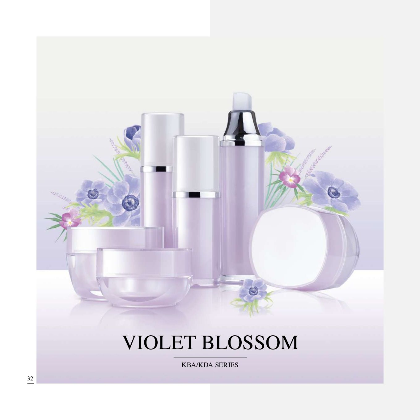 Square Shape Acrylic Luxury Cosmetic & Skincare Packaging - Cosmetic Packaging Collection - Violet Blossom