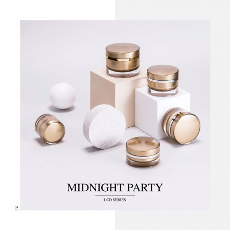 Round Shape Acrylic Luxury Cosmetic & Skincare Packaging - Midnight Party serie
