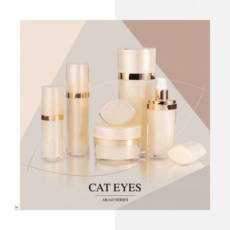 Cosmético y cuidado de la piel de lujo acrílico de forma ovalada      Envase - Serie Cat Eyes