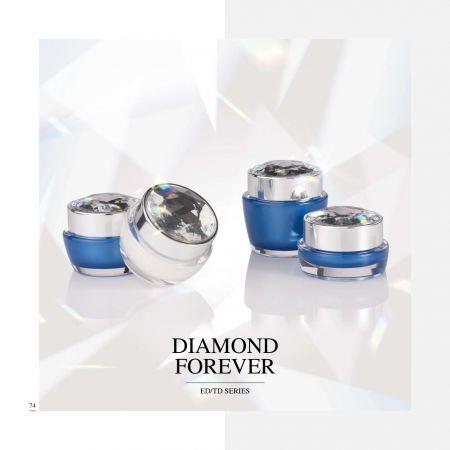 丸型/角型アクリル製高級化粧品およびスキンケア包装 - ダイヤモンド フォーエバー シリーズ - 化粧品パッケージ コレクション - ダイヤモンド フォーエバー