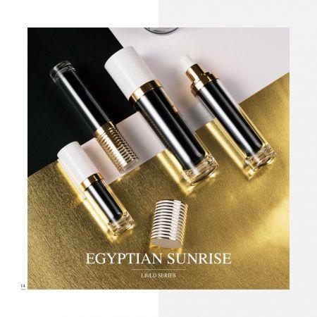 redondo Forma Acrílico Lujo Cosmético y Cuidado de la Piel Envase - Serie Egipcia Sunrise - Cosmético Envase Colección - Egyptian Sunrise