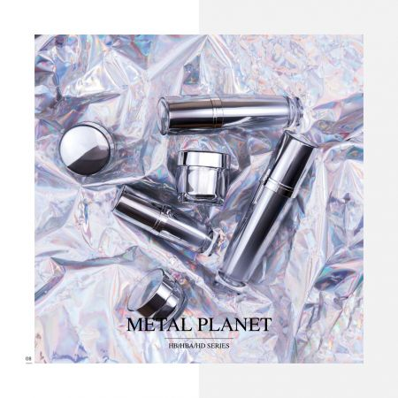 Round Shape Acrylic Luxury Cosmetic & Skincare Packaging - Metal Planet serie