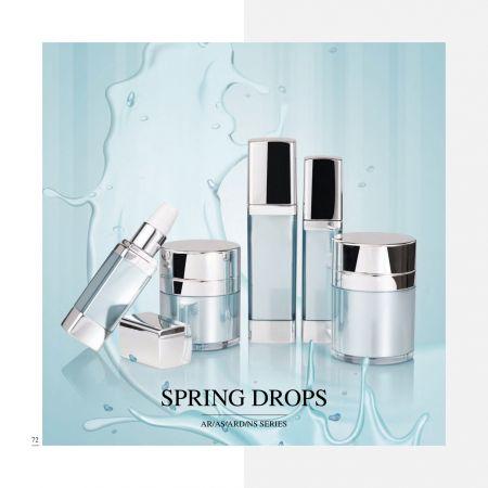 エアレス ラグジュアリー アクリル化粧品 & スキンケア パッケージ - Spring Drops シリーズ - 化粧品包装コレクション - 春のしずく