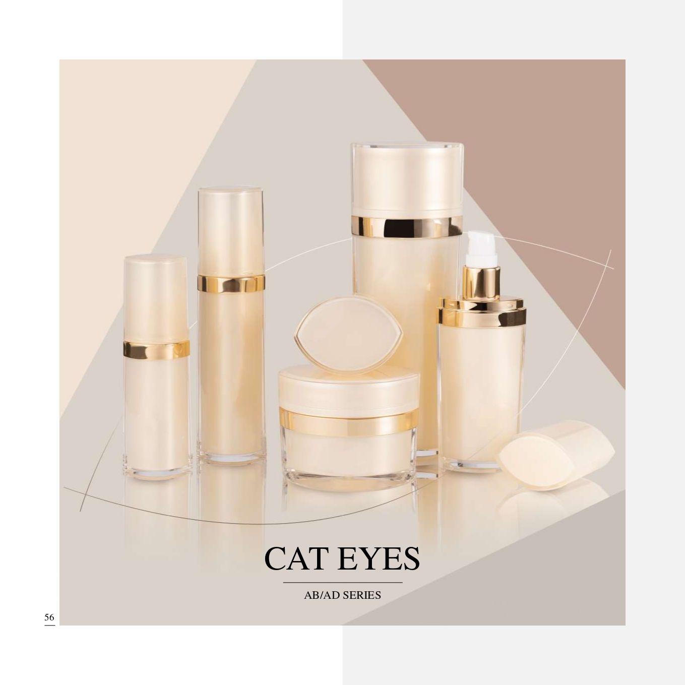 عبوات مستحضرات التجميل والعناية بالبشرة الفاخرة بيضاوية الشكل من الأكريليك - سلسلة عيون القطط - مجموعة تغليف مستحضرات التجميل - عيون القطط