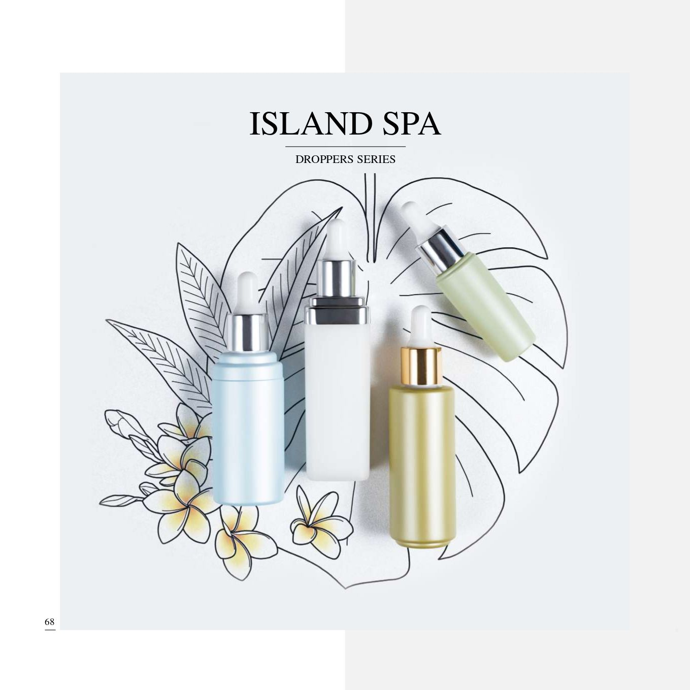 PP/PET Ecofriendly Droppers Packaging - Ecofriednly PP/PET Cosmetic Packaging Collection - Island Spa series